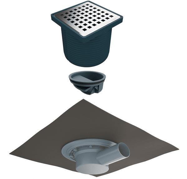 Регулируем сифон с битумна мембрана (ПВЦ рамка) със страничен изход Ф50